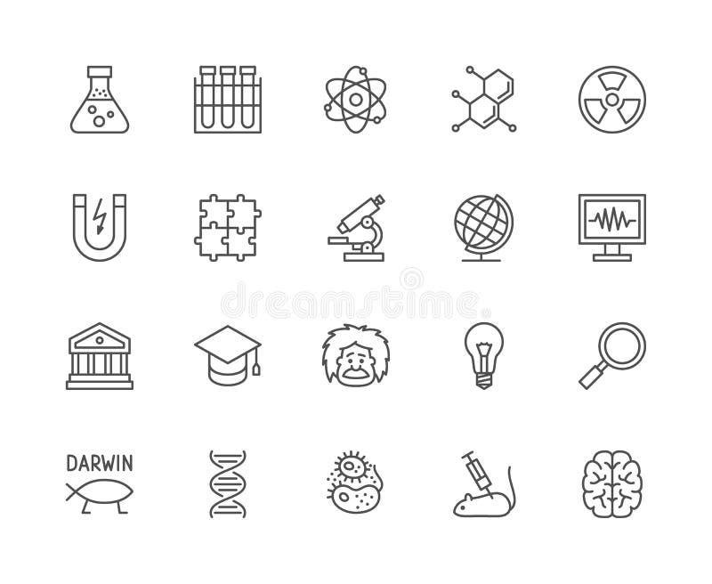 Stellen Sie von der Wissenschafts-Linie Ikonen ein Schulkugel, Professor, Entwicklung, DNA und mehr stock abbildung