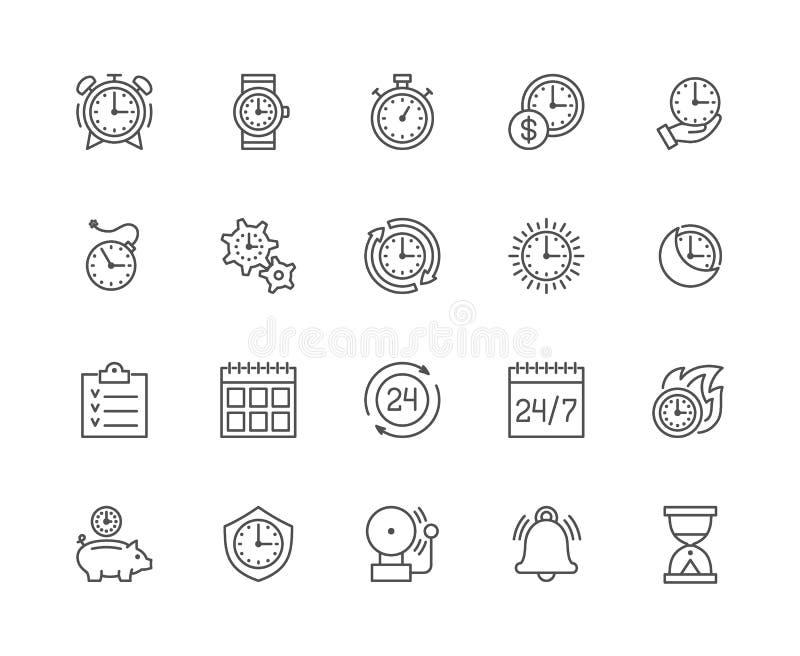 Stellen Sie von der Zeit-Management-Linie Ikonen ein Kalender, Zeitplan, Checkliste, Timer und mehr lizenzfreie abbildung
