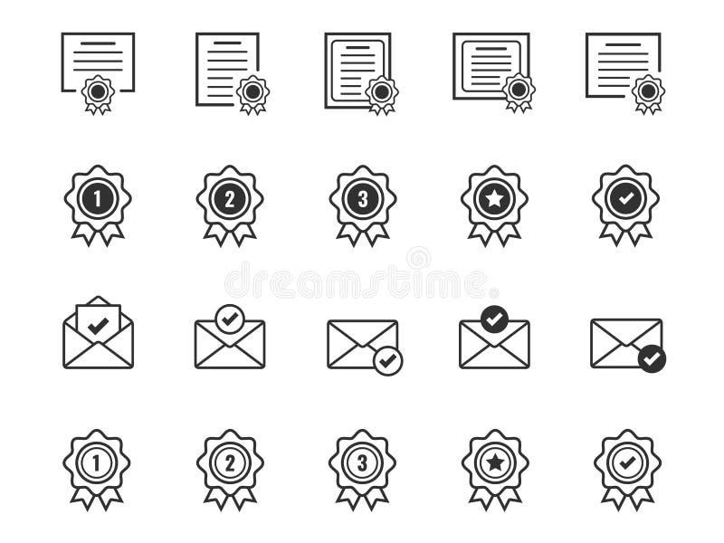Stellen Sie von der Zertifikat- und Preismedaille Ikonen ein Angenommen genehmigen Sie und Postsymbole zu bestätigen vektor abbildung