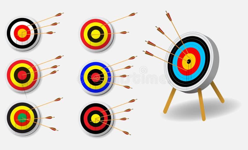Stellen Sie von der Zielikone, vom Ziel mit Schrotflinte und von der Pistole ein lizenzfreie abbildung