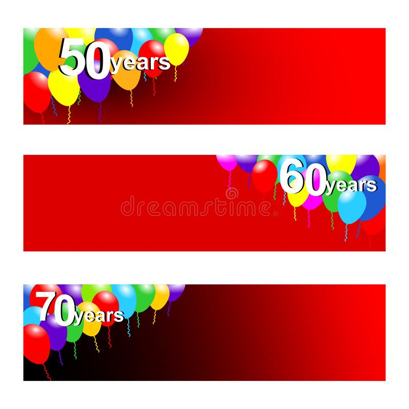 Stellen Sie von drei Fahnen für Jahrestag mit 50,60 und 70 Jahren ein stock abbildung