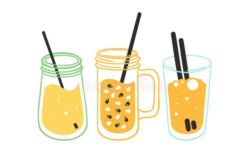 Stellen Sie von drei Frucht, Gemüse-, grüne Smoothies in einem Glas, Flasche, Becher ein Gesunde vegetarische Nahrung vektor abbildung