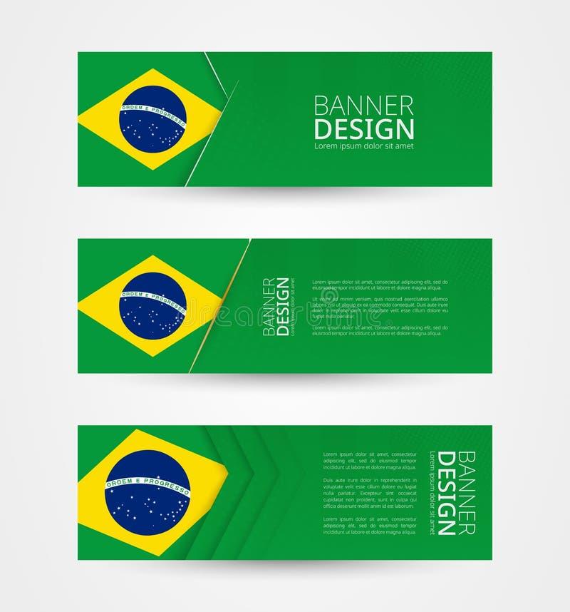 Stellen Sie von drei horizontalen Fahnen mit Flagge von Brasilien ein Netzfahnen-Entwurfsschablone in der Farbe von Brasilien-Fla stock abbildung