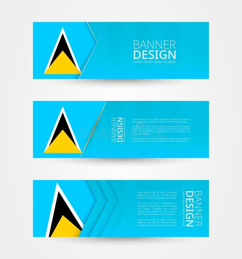 Stellen Sie von drei horizontalen Fahnen mit Flagge der St. Lucia ein Netzfahnen-Entwurfsschablone in der Farbe der St. Lucia-Fla vektor abbildung