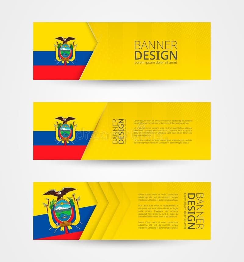 Stellen Sie von drei horizontalen Fahnen mit Flagge von Ecuador ein Netzfahnen-Entwurfsschablone in der Farbe von Ecuador-Flagge vektor abbildung