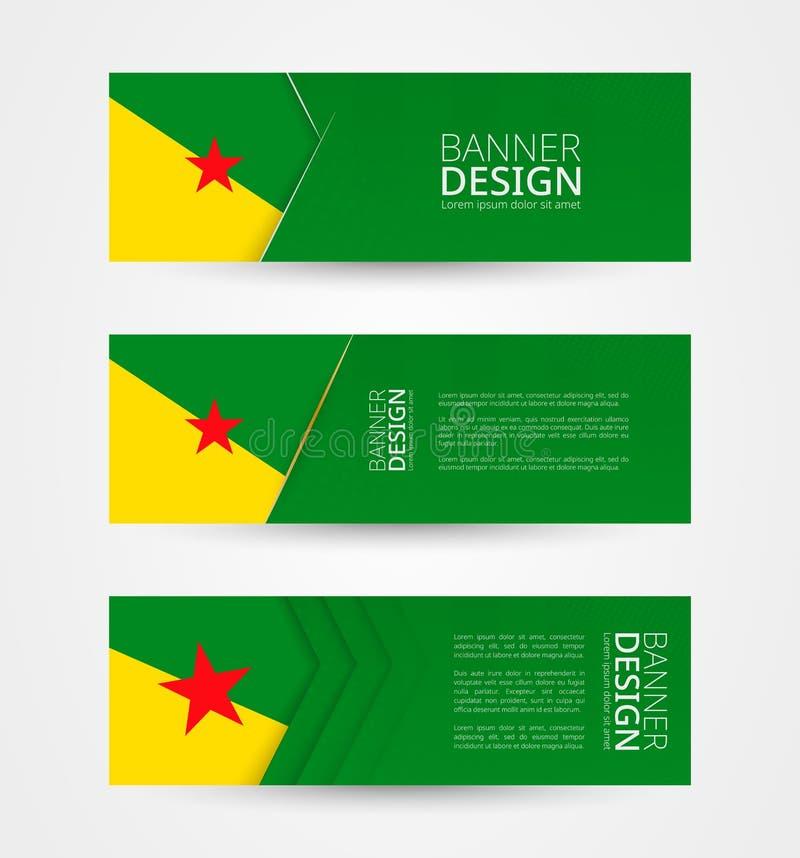 Stellen Sie von drei horizontalen Fahnen mit Flagge von Französisch-Guayana ein Netzfahnen-Entwurfsschablone in der Farbe von Fra stock abbildung