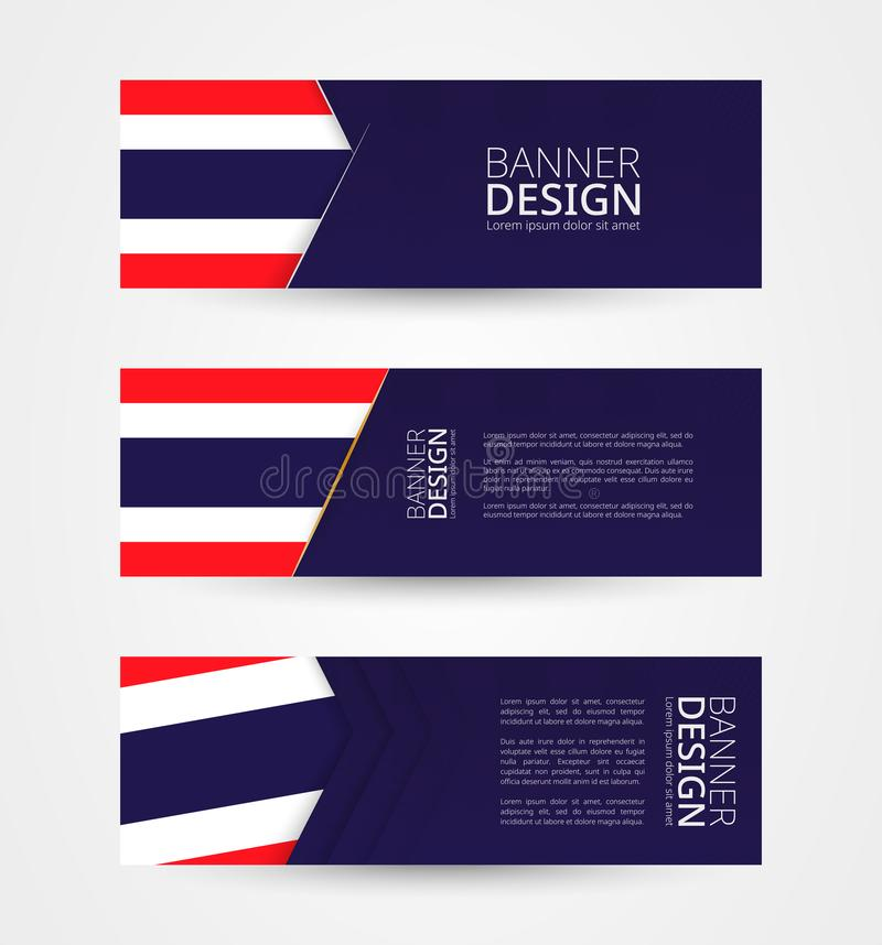 Stellen Sie von drei horizontalen Fahnen mit Flagge von Thailand ein Netzfahnen-Entwurfsschablone in der Farbe von Thailand-Flagg vektor abbildung