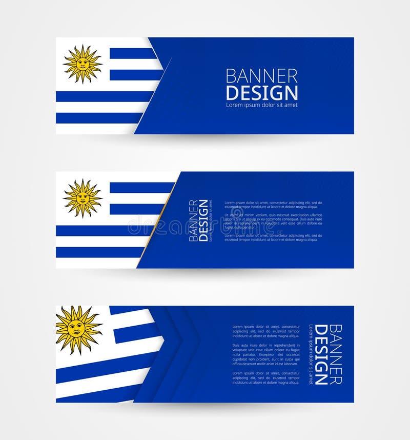 Stellen Sie von drei horizontalen Fahnen mit Flagge von Uruguay ein Netzfahnen-Entwurfsschablone in der Farbe von Uruguay-Flagge lizenzfreie abbildung