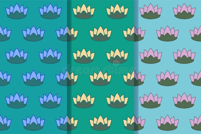 Stellen Sie von drei nahtlosen Mustern mit Seerosen auf dem Teich in einer Art ein Bunte Illustration, eps10 vektor abbildung