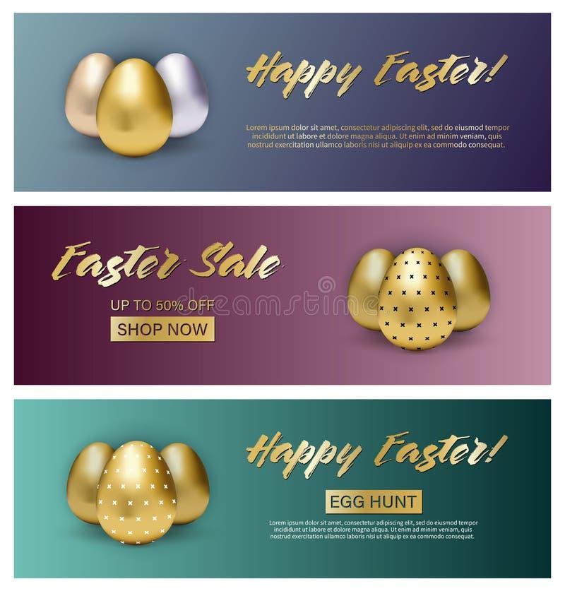 Stellen Sie von drei Ostern-Fahnen auf Steigungshintergrund mit metallischen Eiern ein stock abbildung