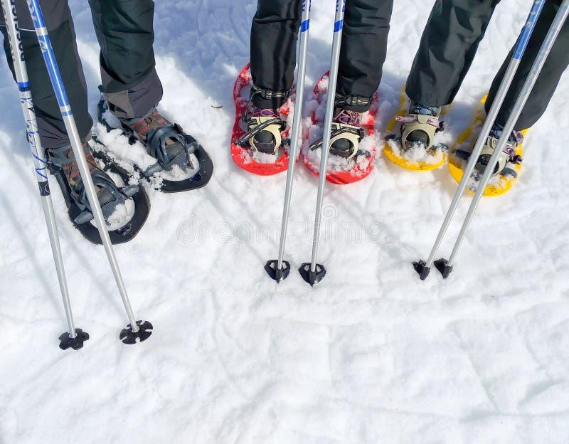 stellen Sie von drei Paaren Schneeschuhen oder Schlägern des Schnees und zwei Skipfosten einer Gruppe Sportleute auf dem Schnee e lizenzfreies stockfoto