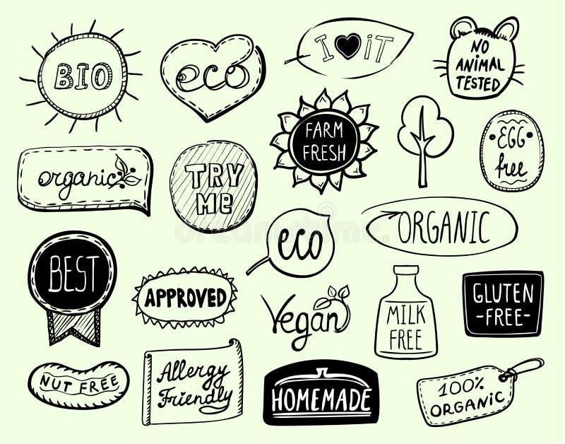 Stellen Sie von eco Symbolen - Bio, das eco ein, organisch, der strenge Vegetarier, die Milch, die, die Nuss frei ist, die frei i stock abbildung