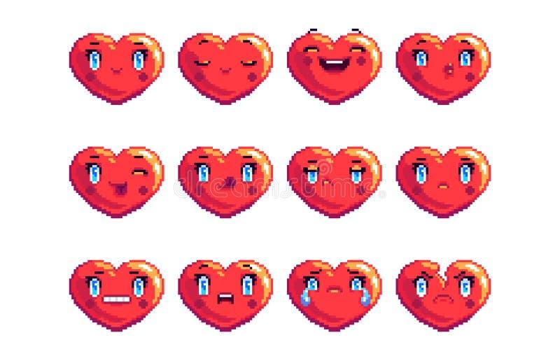 Stellen Sie von 12 ein, die allgemeines Herz Pixelkunst emoji in der roten Farbe formte lizenzfreies stockbild