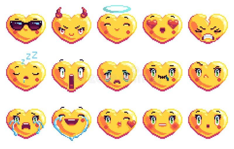 Stellen Sie von 15 ein, die spezielles Herz Pixelkunst emoji in der goldenen Farbe formte stockbilder