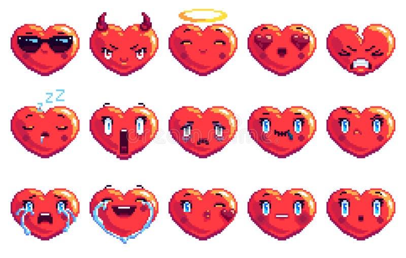 Stellen Sie von 15 ein, die spezielles Herz Pixelkunst emoji in der roten Farbe formte stockfotografie