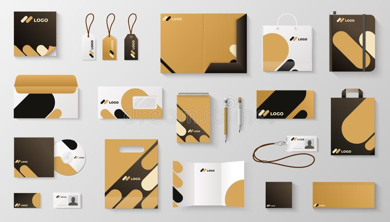 Stellen Sie von einbrennendem Modell der Unternehmensidentitä5 ein Visitenkartebuchstabeumschlag-Bechermarke des realistischen Bü stock abbildung