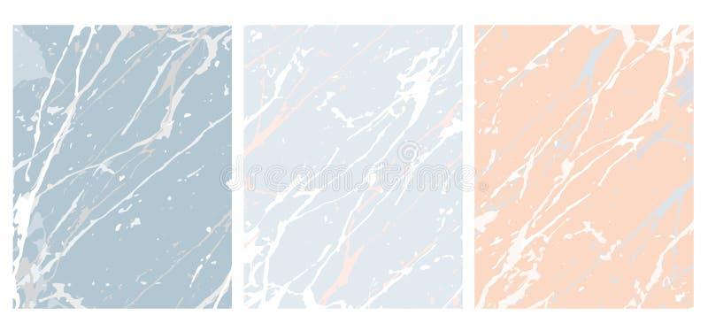 Stellen Sie von 3 empfindlichen abstrakten Marmorvektor-Plänen ein Rosa und blaue Hintergründe lizenzfreie abbildung