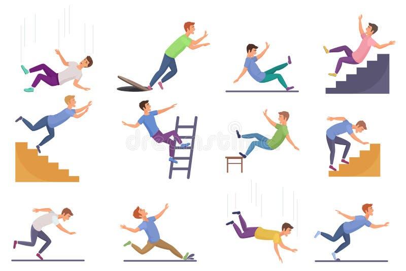 Stellen Sie von fallendem Mann lokalisiert ein Vom Stuhlunfall fallen, unten fallend Treppe und gleiten, fallender Mannvektor Sto lizenzfreie abbildung
