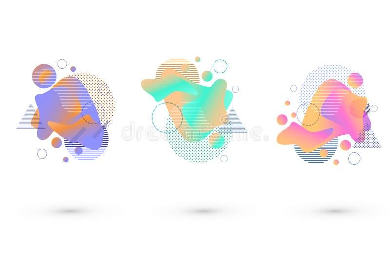 Stellen Sie von farbigen Stellen mit abstrakten Elementen ein Vektorillustration mit fl?ssiger und geometrischer Zahl Dose benutz vektor abbildung
