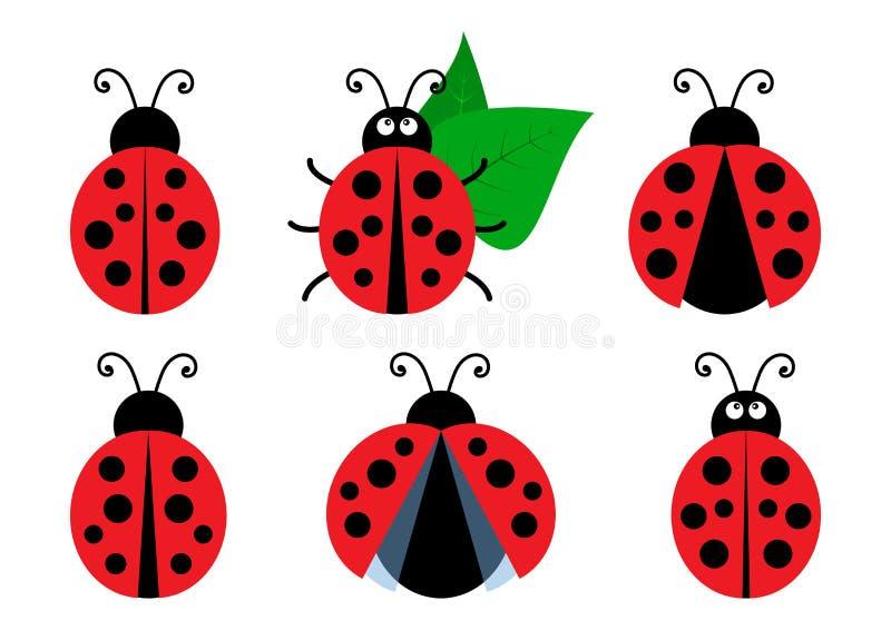 Stellen Sie von farbigen netten Marienkäferikonen ein Vektor stock abbildung