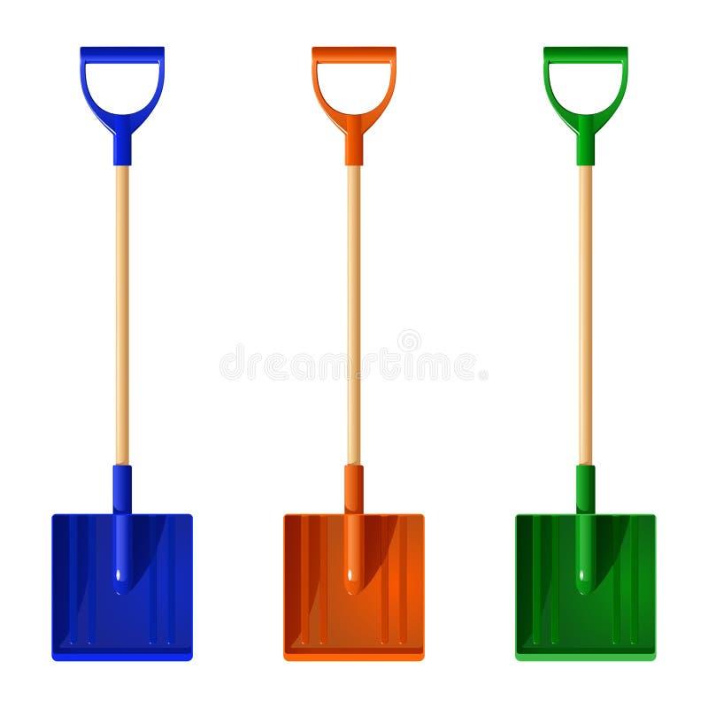 Stellen Sie von farbiger Plastikschaufelschneeschaufel mit Holzgriffen, Vektorillustration ein stock abbildung