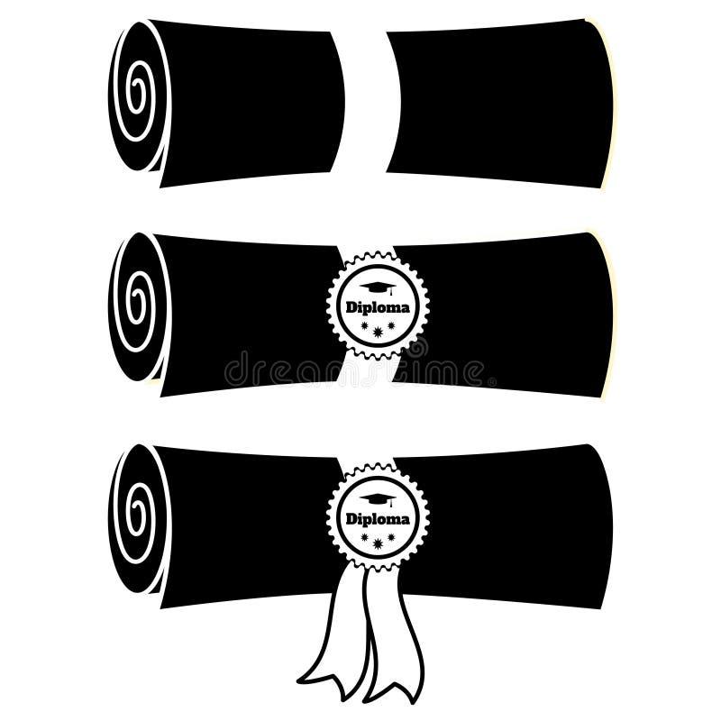 Stellen Sie von gefalteten Diplomen mit Band und Stempel flacher Illustration Vektors ein lizenzfreie abbildung