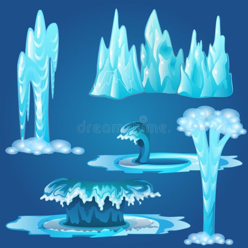 Stellen Sie von gefrorenen Strömen ein und spritzt vom Wasser, das auf blauem Hintergrund lokalisiert wird Auch im corel abgehobe stock abbildung