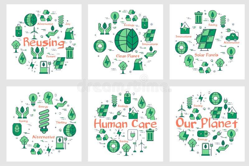 Stellen Sie von grünen eco Fahnen mit Linie Ikonen ein vektor abbildung