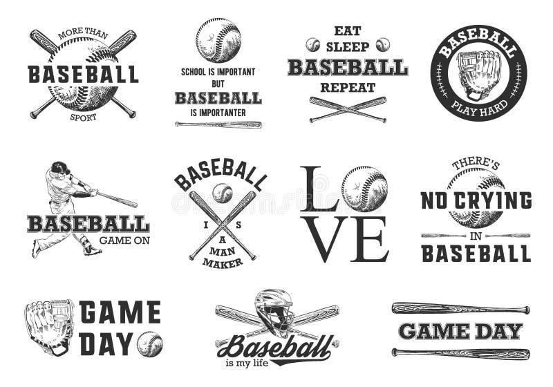 Stellen Sie von 11 gravierten Artillustrationen für Plakate, Dekoration, T-Shirt Entwurf ein Handgezogene Baseballskizzen mit Mot stock abbildung