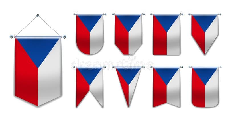 Stellen Sie von h?ngenden Flaggen der Tschechischen Republik mit Textilbeschaffenheit ein Verschiedenartigkeitsformen des Staatsf stockfoto