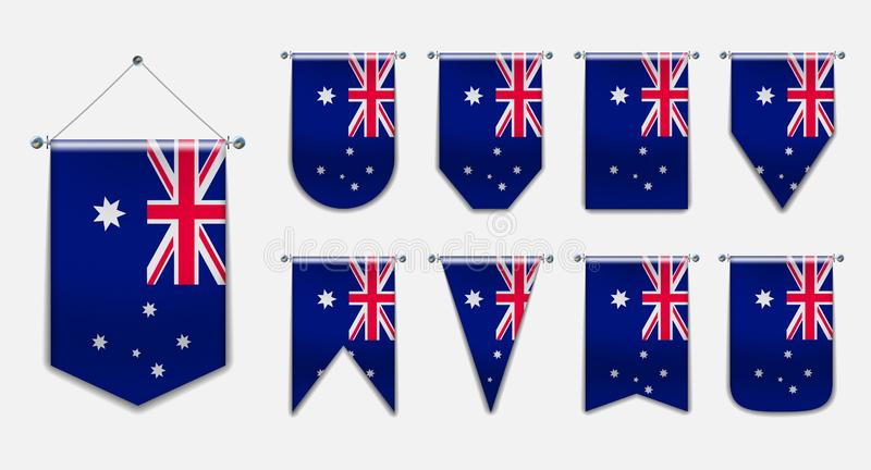 Stellen Sie von hängenden Flaggen des AUSTRALIENS mit Textilbeschaffenheit ein Vertikaler Schablonenwimpel für Hintergrund, Fahne vektor abbildung