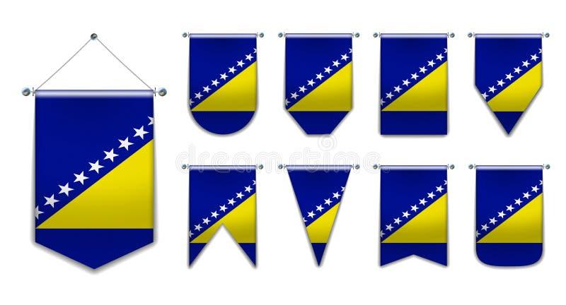 Stellen Sie von hängenden Flaggen des Bosnien und Herzegowinas mit Textilbeschaffenheit ein Verschiedenartigkeitsformen des Staat stock abbildung