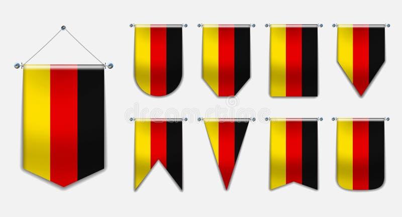 Stellen Sie von hängenden Flaggen des DEUTSCHLANDS mit Textilbeschaffenheit ein Vertikaler Schablonen-Wimpel für Hintergrund, Fah vektor abbildung
