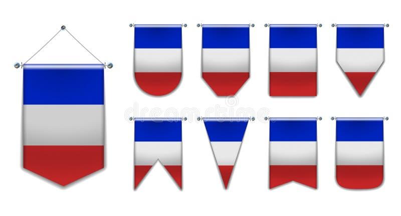Stellen Sie von hängenden Flaggen des FRANKREICHS mit Textilbeschaffenheit ein Verschiedenartigkeitsformen des Staatsflaggelandes vektor abbildung