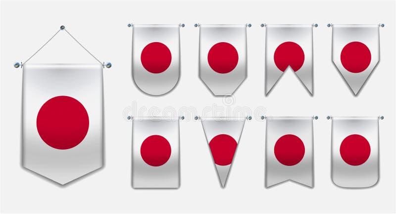 Stellen Sie von hängenden Flaggen des JAPANS mit Textilbeschaffenheit ein Verschiedenartigkeitsformen des Staatsflaggelandes Vert lizenzfreie abbildung