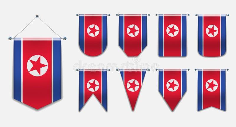 Stellen Sie von hängenden Flaggen des NORDKOREAS mit Textilbeschaffenheit ein Vertikaler Schablonen-Wimpel für Hintergrund, Fahne vektor abbildung