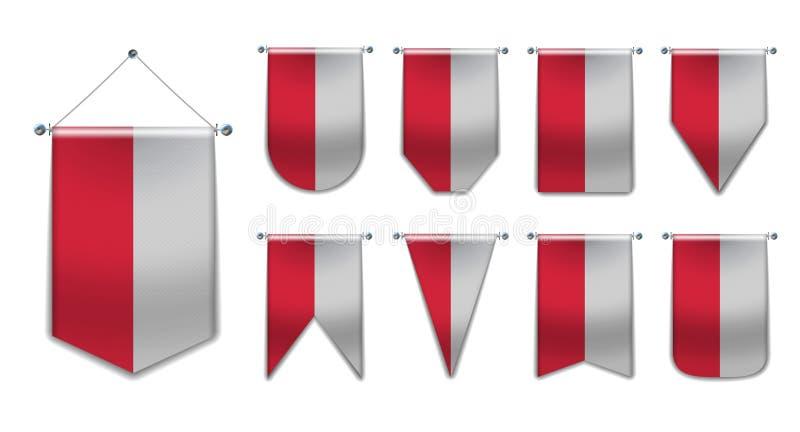 Stellen Sie von hängenden Flaggen des Polens mit Textilbeschaffenheit ein Verschiedenartigkeitsformen des Staatsflaggelandes vert lizenzfreie abbildung