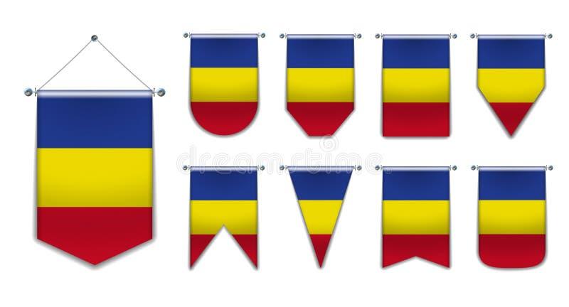 Stellen Sie von hängenden Flaggen des Rumäniens mit Textilbeschaffenheit ein Verschiedenartigkeitsformen des Staatsflaggelandes v stock abbildung