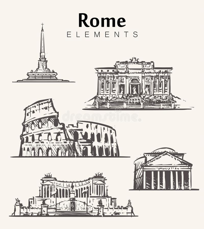 Stellen Sie von Hand gezeichneten Rom-Gebäuden ein Rom-Elementskizzen-Vektorillustration vektor abbildung