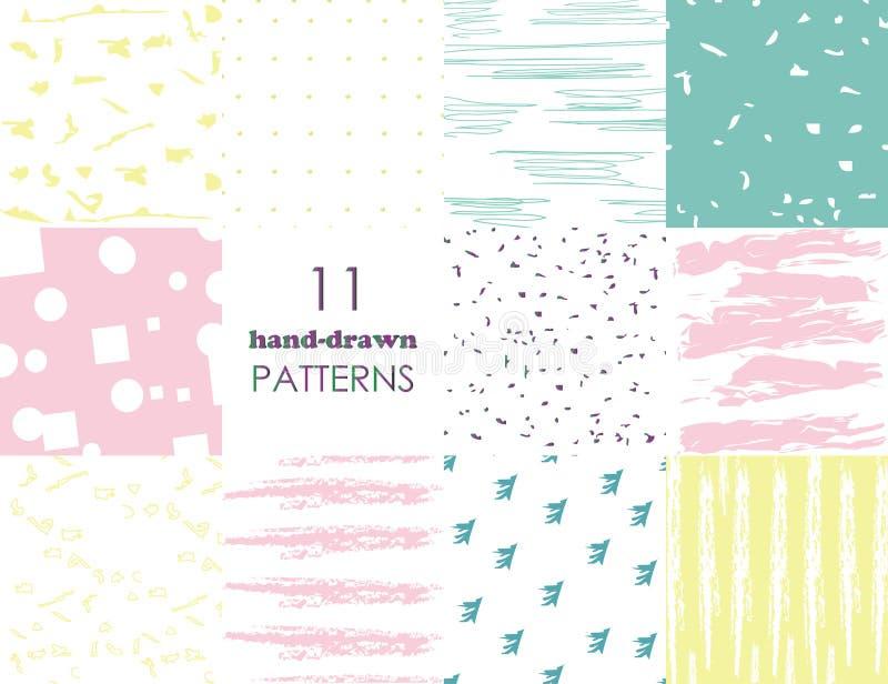 Stellen Sie von 11 Handgezogenen modischen Mustern mit Tintenbürstenanschlägen ein Lokalisiert auf bunten Hintergr?nden Vektormus vektor abbildung