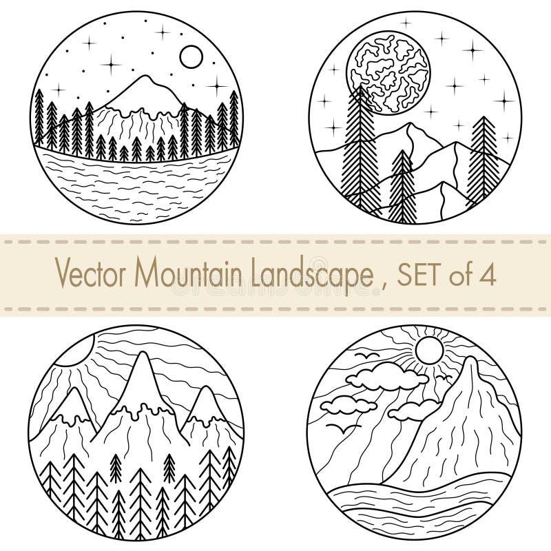 Stellen Sie von 4 Handgezogenen Schwarzweißabbildungen mit Bergen, Bäumen, Fluss, Wolken und Sonnen ein vektor abbildung