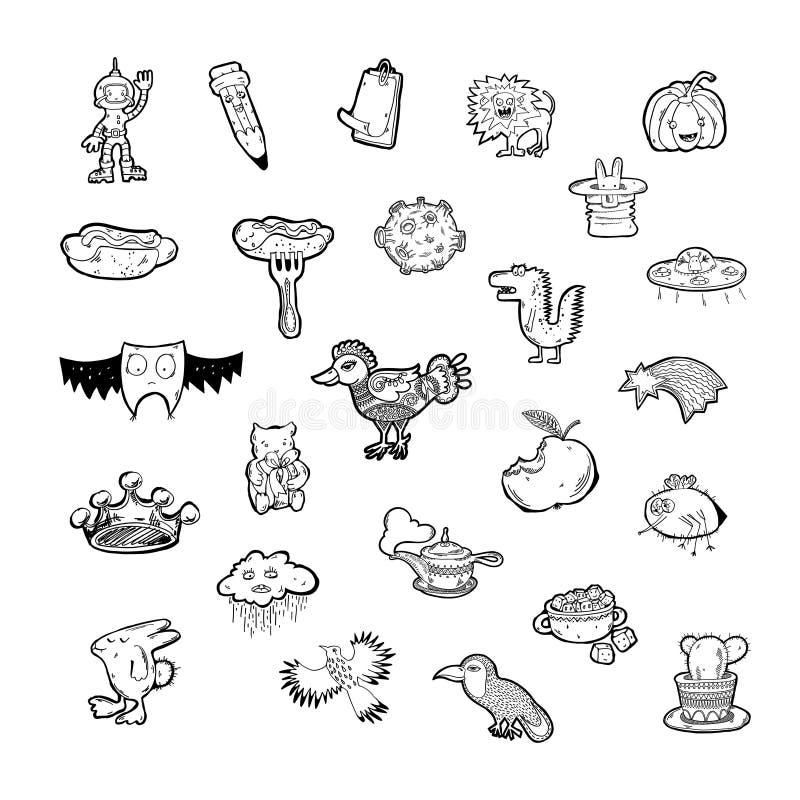Stellen Sie von 25 Handzeichnungsskizzenikonengekritzelgegenständen und -tieren ein lizenzfreie abbildung