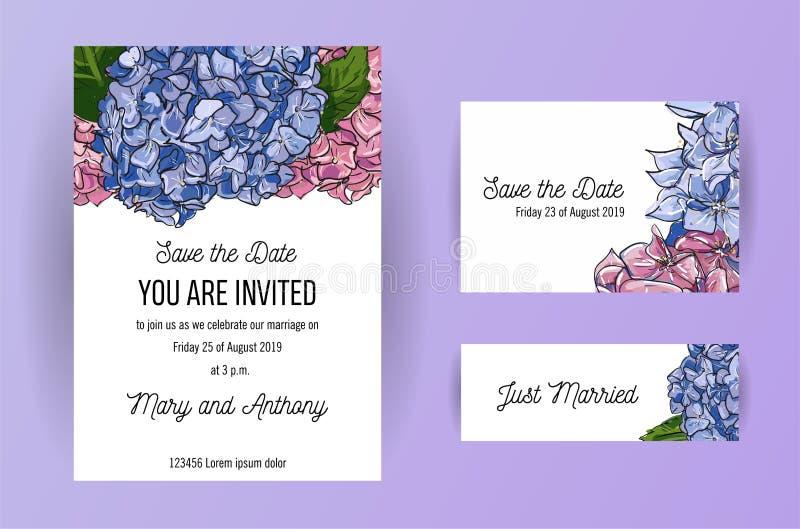 Stellen Sie von Heiratseinladungskarte mit blauer und rosa Blumen Hortensie ein Entwurfsschablone der Karte A5 auf weißem Hinterg stock abbildung