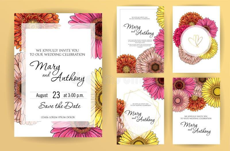 Stellen Sie von Heiratseinladungskarten-Blumen Gerbera ein Einladungs-Entwurfsschablone der Hochzeit A5 auf weißem Hintergrund Ve lizenzfreie abbildung