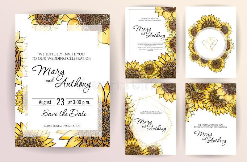 Stellen Sie von Heiratseinladungskarten-Blumen Sonnenblume ein Einladungs-Entwurfsschablone der Hochzeit A5 auf weißem Hintergrun stock abbildung