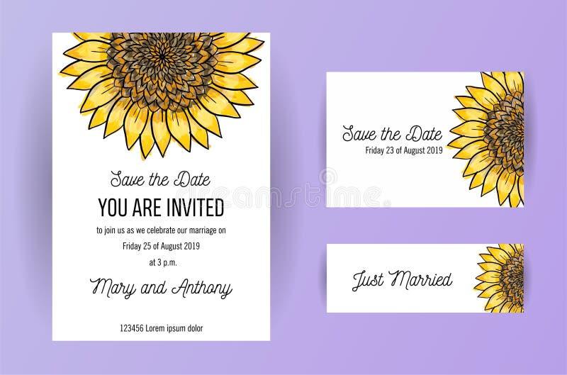 Stellen Sie von Heiratseinladungskarten-Blumen Sonnenblume ein Einladungs-Entwurfsschablone der Hochzeit A5 auf weißem Hintergrun vektor abbildung