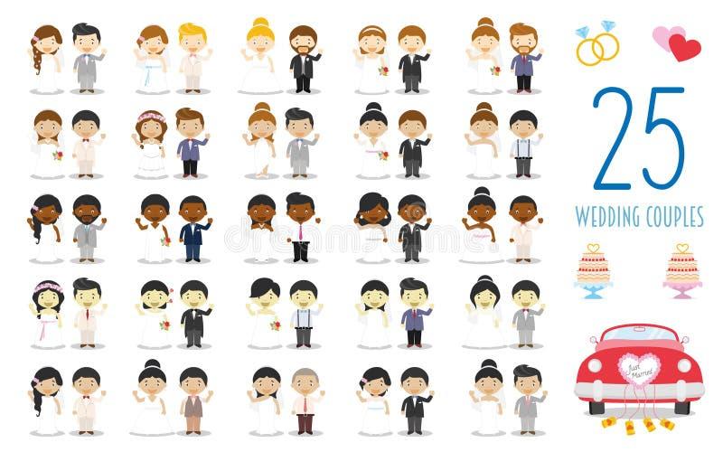 Stellen Sie von 25 Heiratspaaren und von den Heirats- Ikonen in der Karikaturart ein vektor abbildung