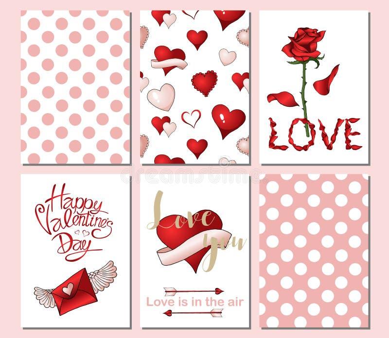 Stellen Sie von 6 Karten oder von Schablonen für Valentinsgruß-Tag mit aufwändigen roten und rosa Elementen ein stock abbildung