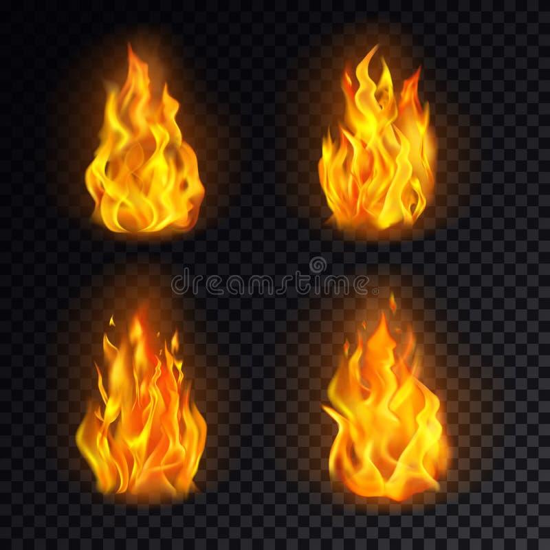 Stellen Sie von lokalisiertem Feuer 3d oder vom realistischen Brand, Flamme ein stock abbildung