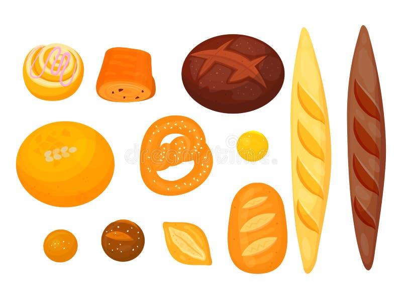 Stellen Sie von lokalisiertem Gebäck oder von Bäckerei ein Getreidelebensmittel vektor abbildung